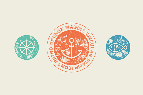 Circular Stamp Marine Vector Icons