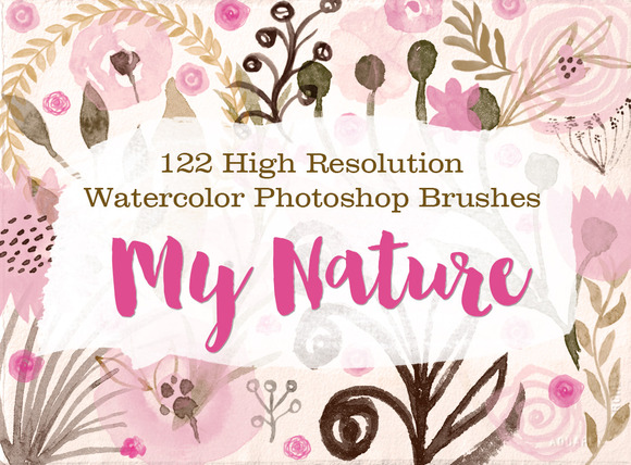 122 Watercolor Photoshop Brushes M