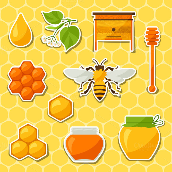Honey And Bee Stickers