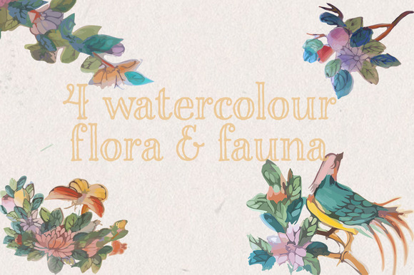 Watercolour Birds Flowers Vectors