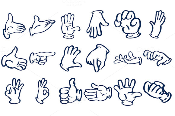 Cartoon Gloved Hands Vector