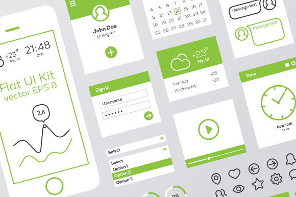 Green White Flat Mobile Web UI Kit