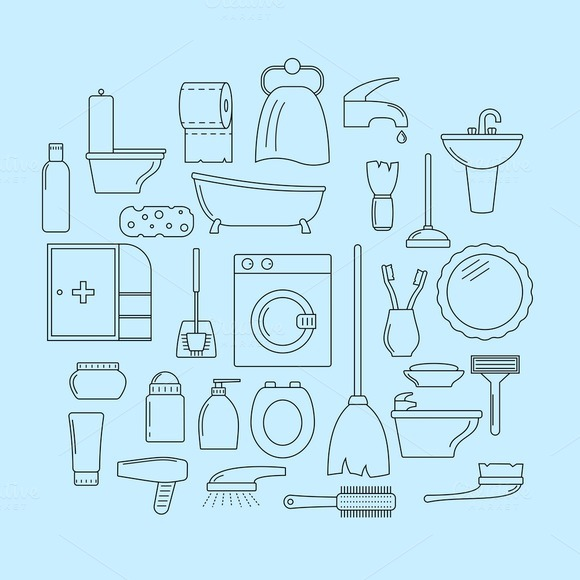 Set Of Line Icons Bathroom Theme