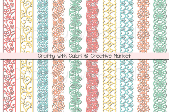 Pastel Color Paper Punch Borders