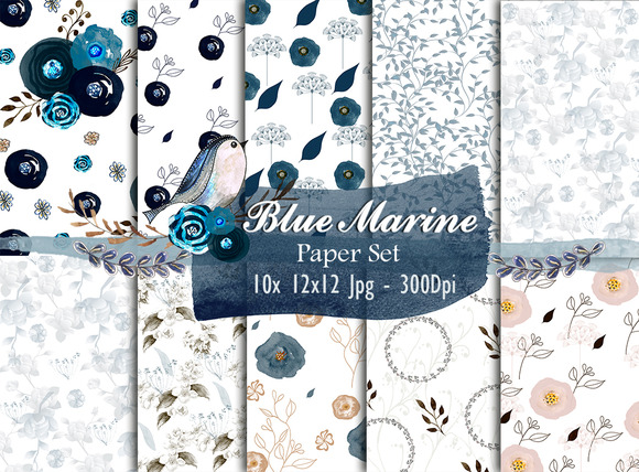 Watercolor Paper Set Blue Marine