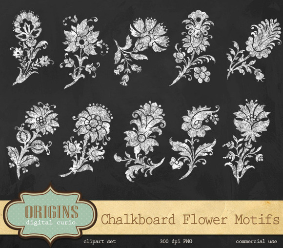 Chalkboard Flower Motifs Clipart