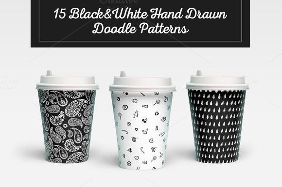 B W Doodles 15 Patterns Bundle