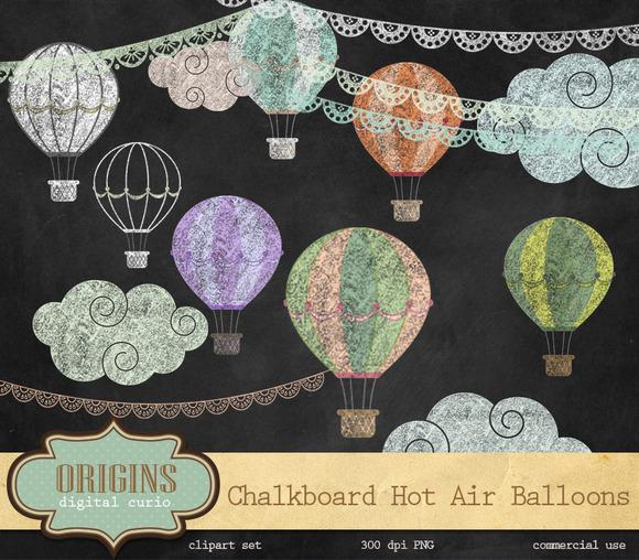 Chalkboard Hot Air Balloon Clipart