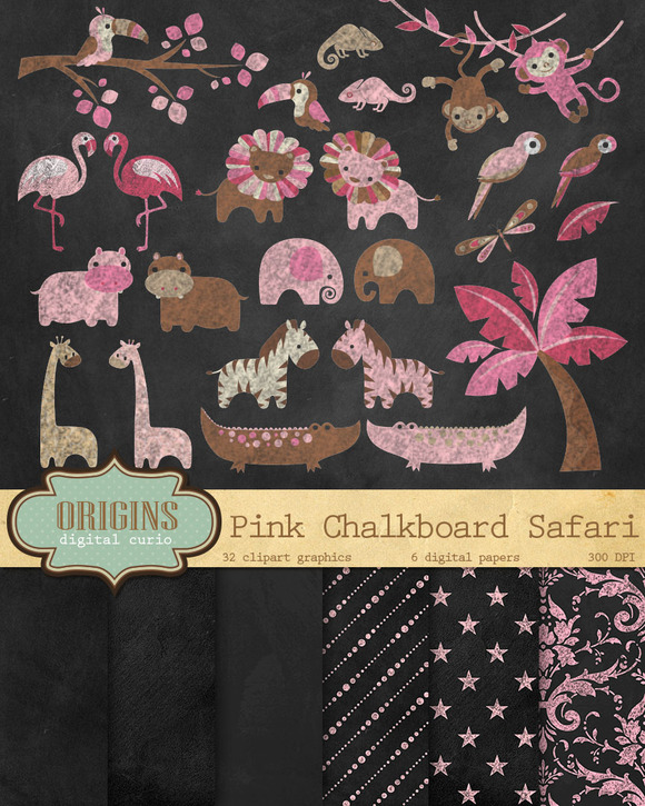 Pink Chalkboard Safari Scrapbook Kit