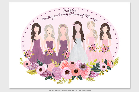 Bridesmaids Wedding Illustration