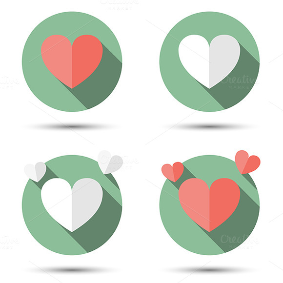 Hearts In Flat Icon Style
