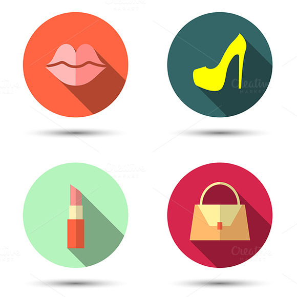 Flat Icons With Women S Accessories