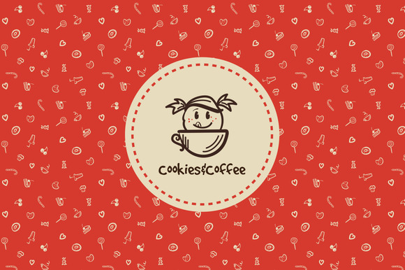 Cookies Coffee Doodle Logo