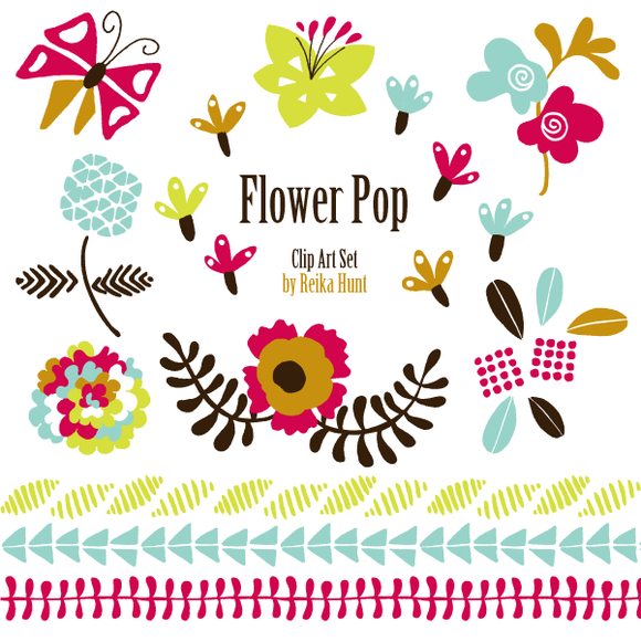 Flowers Hand Drawn Vector Clip Art