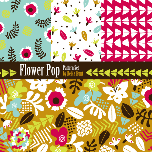 Flowers Hand Drawn Vector Patterns