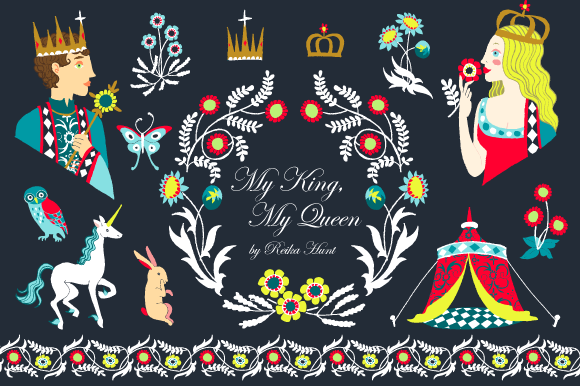 King Queen Vector Clip Art