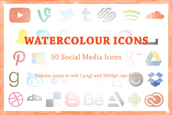 50 Watercolour Social Media Icons