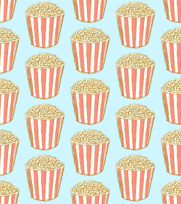 Sketch Pop Corn In Vintage Style