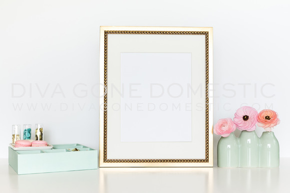 Gold Styled Frame Mockup For Art