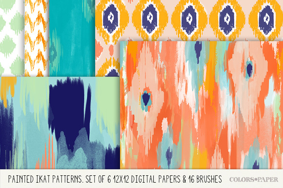 Painted Ikat Papers Brushes- Stamps