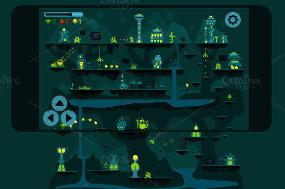 Alien Adventures Vector Game Set