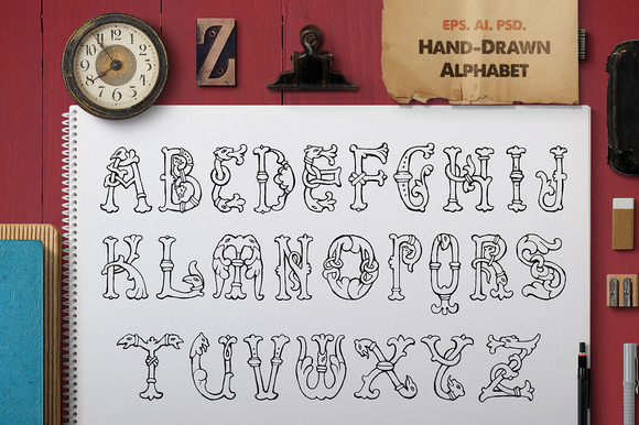 Hand-Drawn Fantasy Alphabet 2 Set