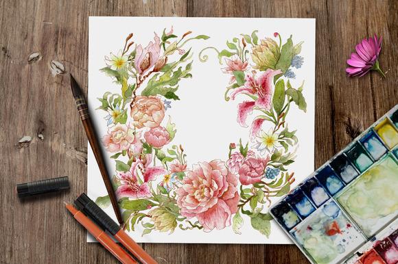 Handy Watercolor Floral Wreath