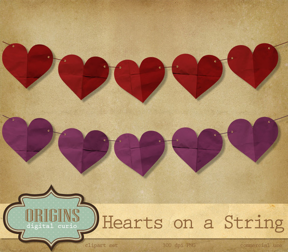 Hearts On A String Clipart