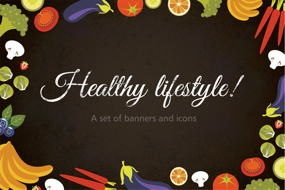 Icons And Banners Healthy Lifestyle