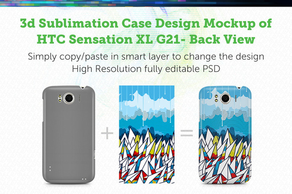HTC Sensation XL G21 3D Case Mockup