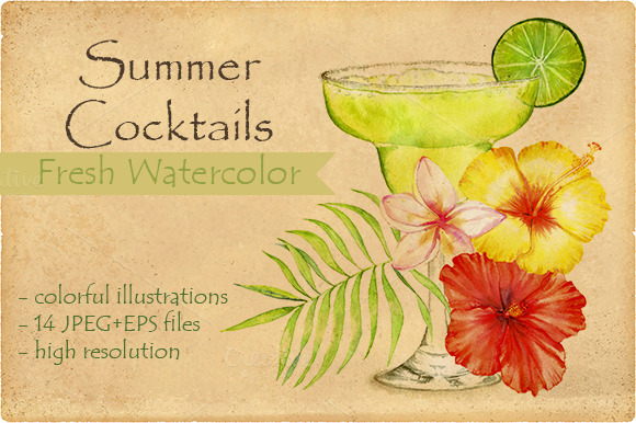 Watercolor Summer Cocktails