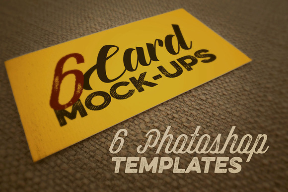 6 Card Mockups Retro Vintage Style