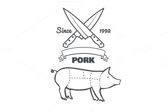 Vintage Butcher Cuts Of Pork