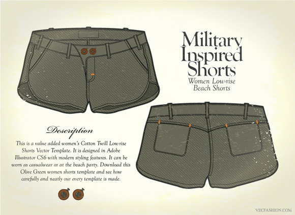 Women Military Inspired Beach Shorts
