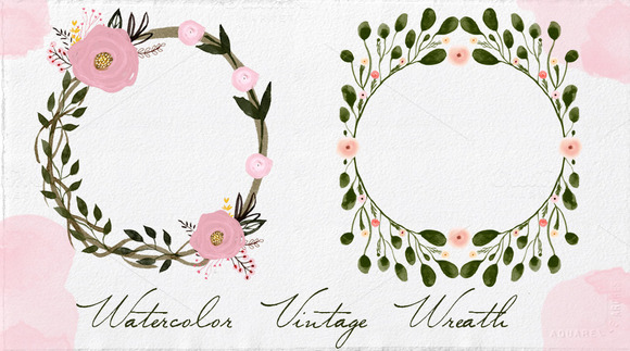 Watercolor Vintage Wreaths