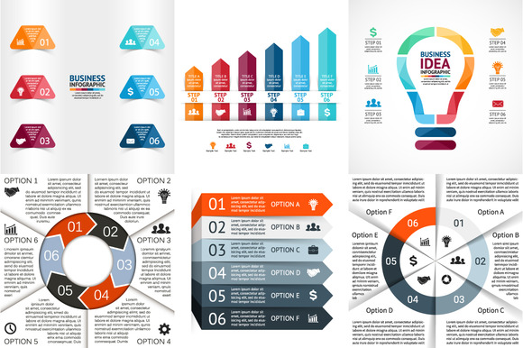 Infographics For 6 Options Set 2