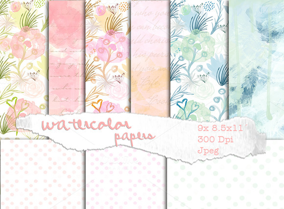 Watercolor Floral Papers