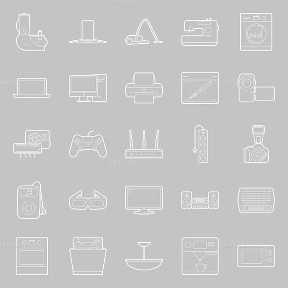 Home Electronics Icons Set