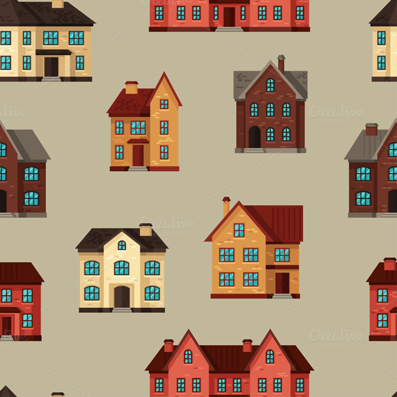 Seamless Patterns With Cottages