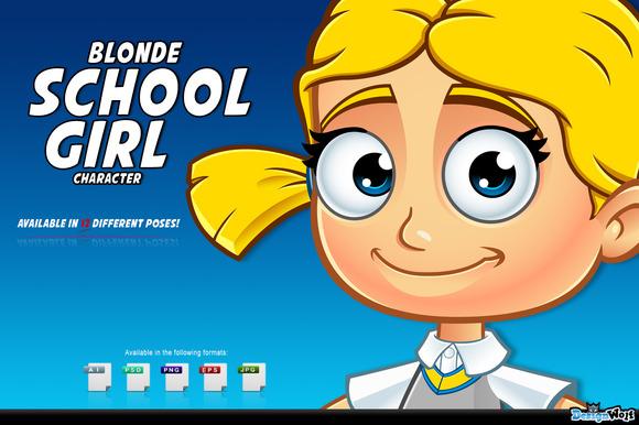 Blonde School Girl Character