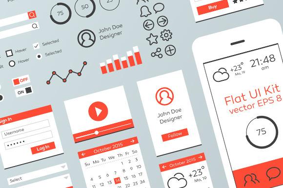 Red White Flat Mobile Web UI Kit