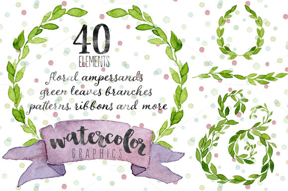 40 Watercolor Elements