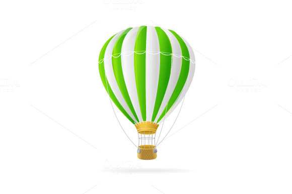 Vector White And Green Hotair Ballon