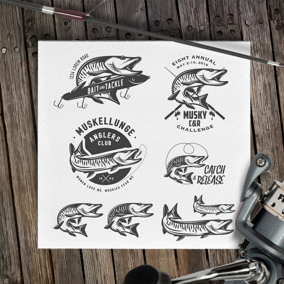 Muskey Fishing Design Elements