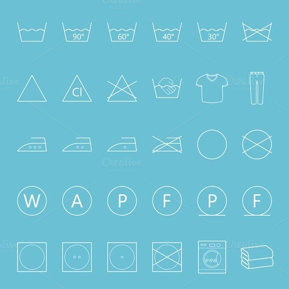 Washing And Ironing Icons Set