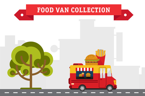 Set Of Food Truck Illustrations