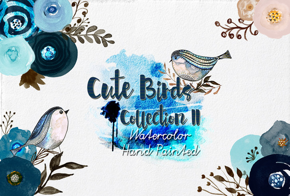 Watercolor Cute Birds II