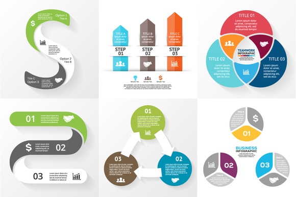 Flat Infographics For 3 Steps Set 4
