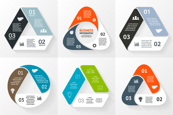 Flat Infographics For 3 Steps Set 1