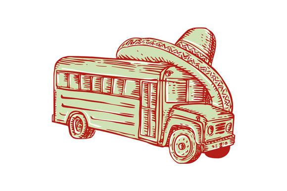 Sombrero School Bus Etching